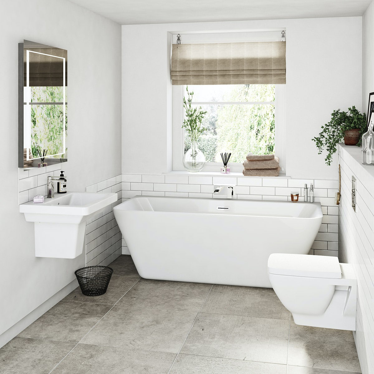 Mode Cooper Bathroom Suite With Back To Wall Bath 1700 X 750