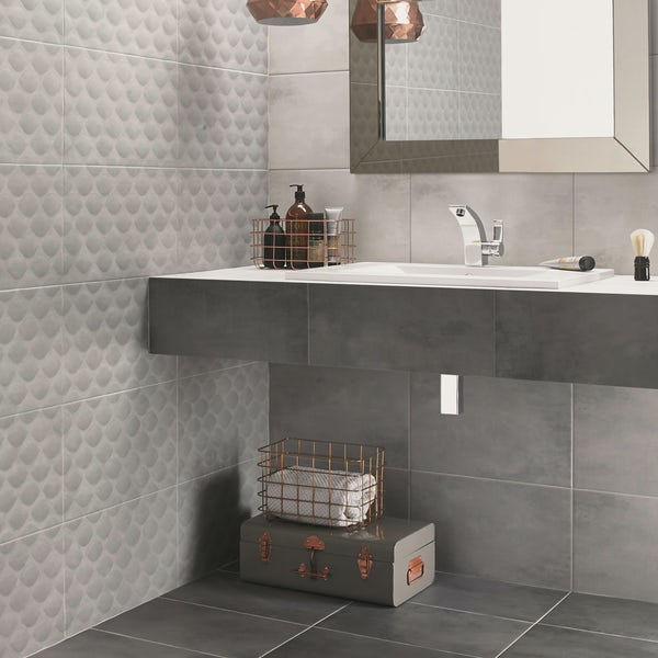 Ted Baker VersaTile light grey matt wall and floor tile 298mm x 498mm