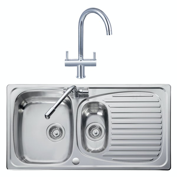 Leisure Euroline reversible stainless steel 1.5 bowl kitchen sink and Schon Burgh tap