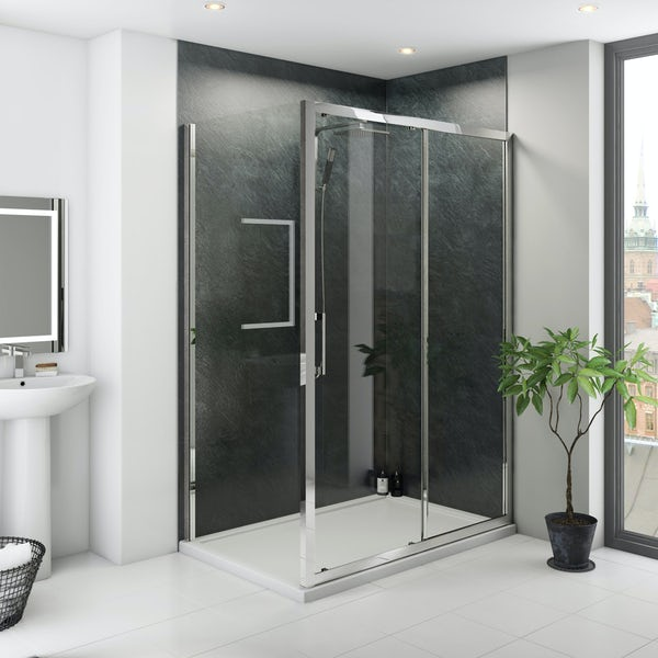 Multipanel Classic Riven Slate shower wall panel corner installation pack 1200 x 1200