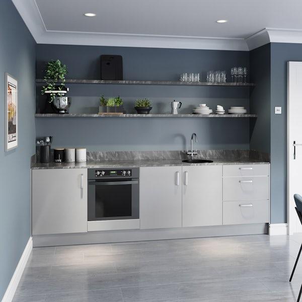 Schon Boston light grey slab kitchen base unit bundle