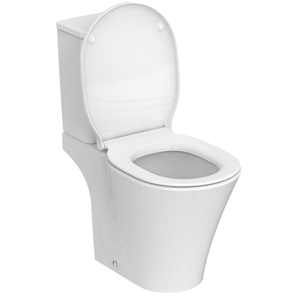 Ideal Standard Concept Air water saving open back close coupled toilet with soft close toilet seat