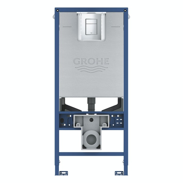 Grohe Rapid SLX set 3 in 1 wall mounting frame with Skate Cosmopolitan flush plate, integrated socket and shower toilet connection