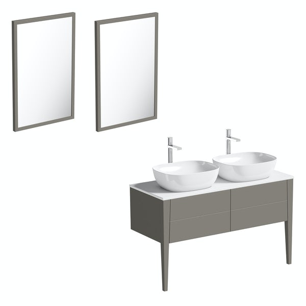 Mode Hale greystone matt countertop double basin vanity unit 1200mm with mirrors