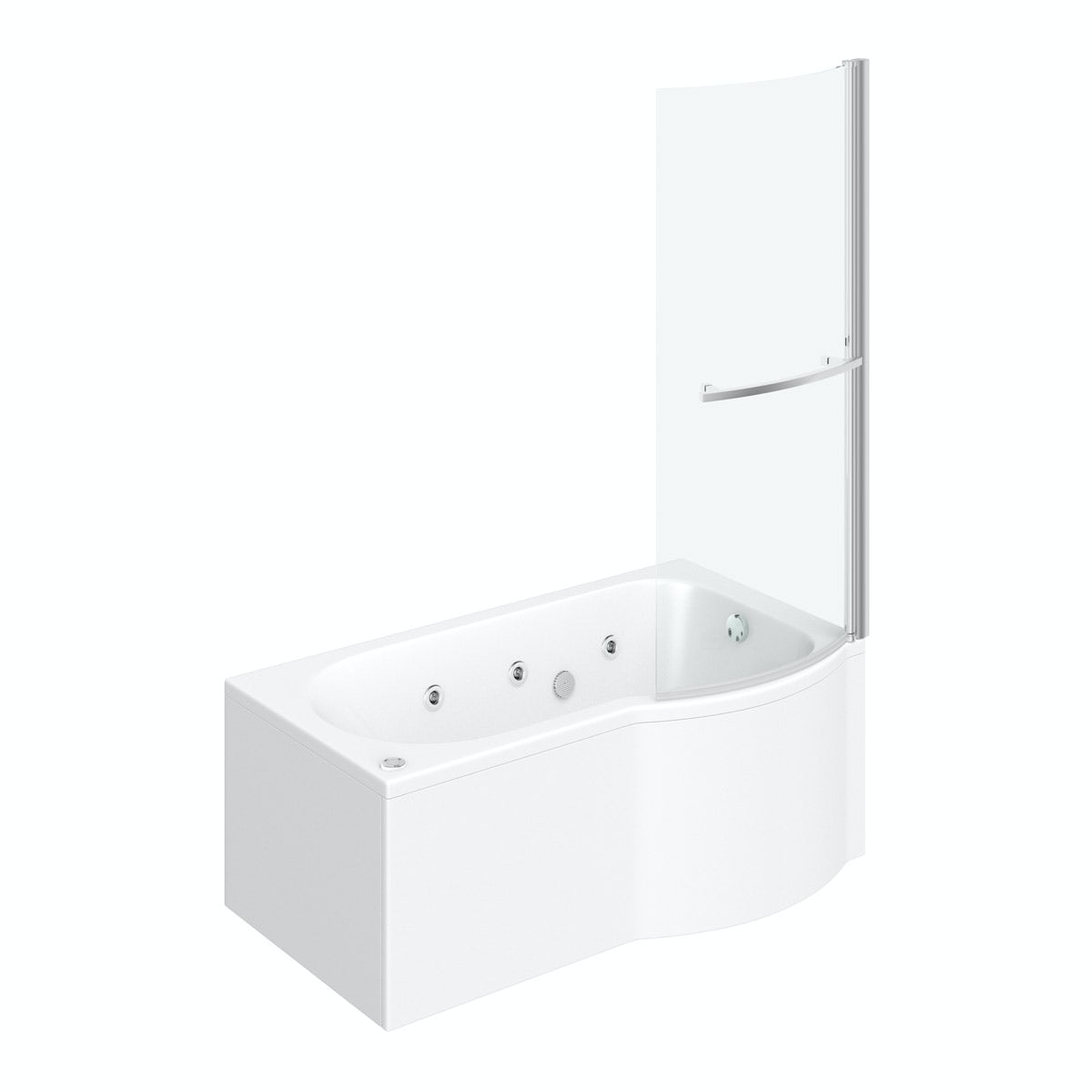 P shaped right handed 6 jet whirlpool shower bath with front panel and screen