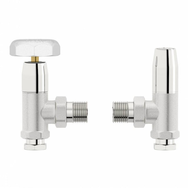 Traditional Angled Radiator Valves with White Handle
