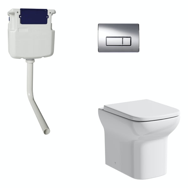 Orchard Lune back to wall toilet with soft close seat, concealed cistern and push plate