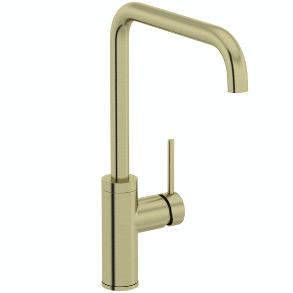 Schön Skye L spout brushed brass kitchen mixer tap