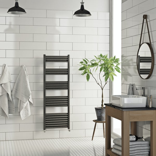 Mode Carter charcoal black heated towel rail 1400 x 500