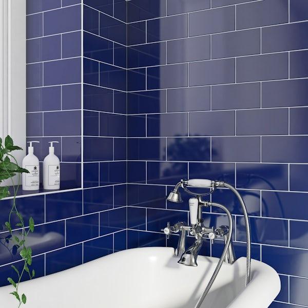 British Ceramic Tile Metro flat navy gloss wall tile 100mm x 200mm