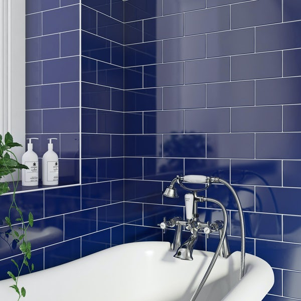 British Ceramic Tile Metro flat navy gloss wall tile 100mm x 200mm