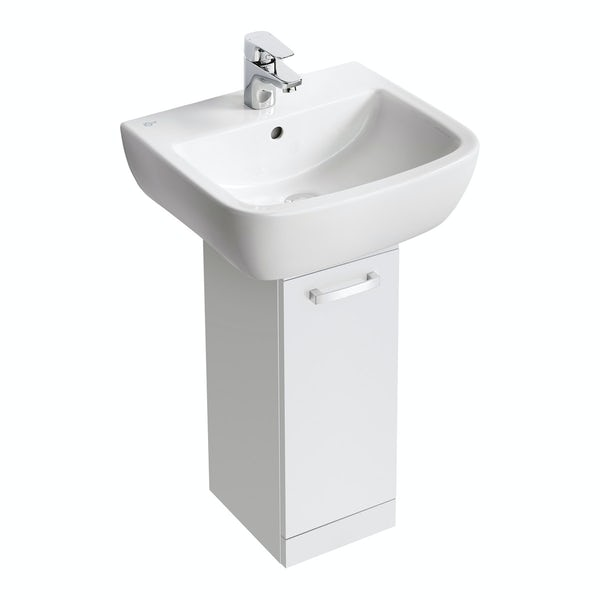 Ideal Standard Tempo gloss white pedestal unit with basin 500mm