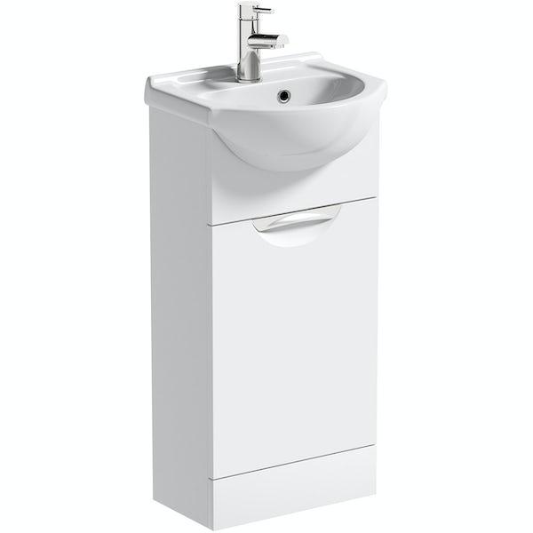 Orchard Elsdon white cloakroom floorstanding vanity unit and ceramic basin 410mm