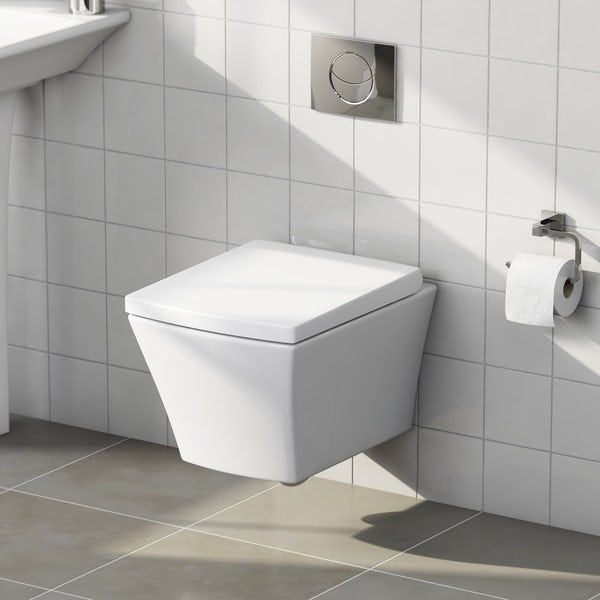Mode Austin wall hung toilet inc soft close toilet seat and wall mounting frame with push plate cistern