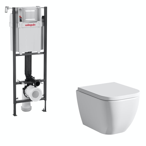 Mode Ellis wall hung toilet with soft close seat and wall mounting frame with push plate cistern