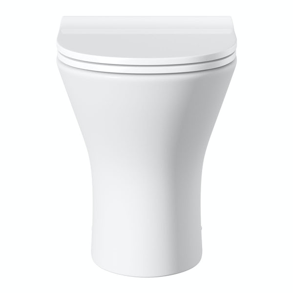 Derwent Round back to wall toilet including soft close slim seat