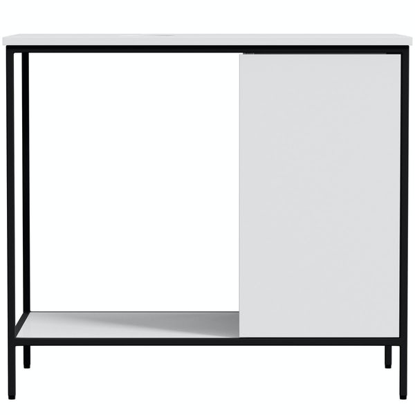 Mode Bergne white washstand and black steel frame 812mm with Ellis countertop basin, tap, waste and trap