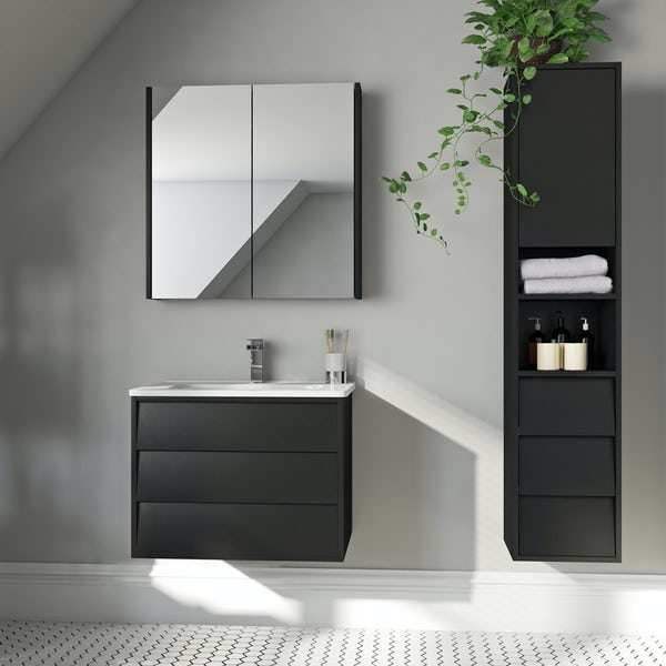 Mode Cooper anthracite black furniture package with vanity unit 600mm