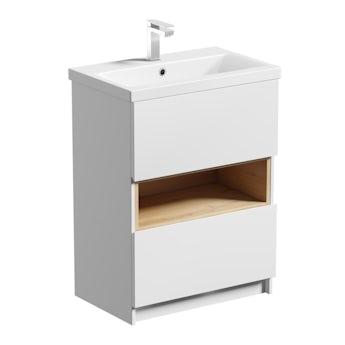 Mode Tate white & oak floorstanding vanity unit and ceramic basin 600mm