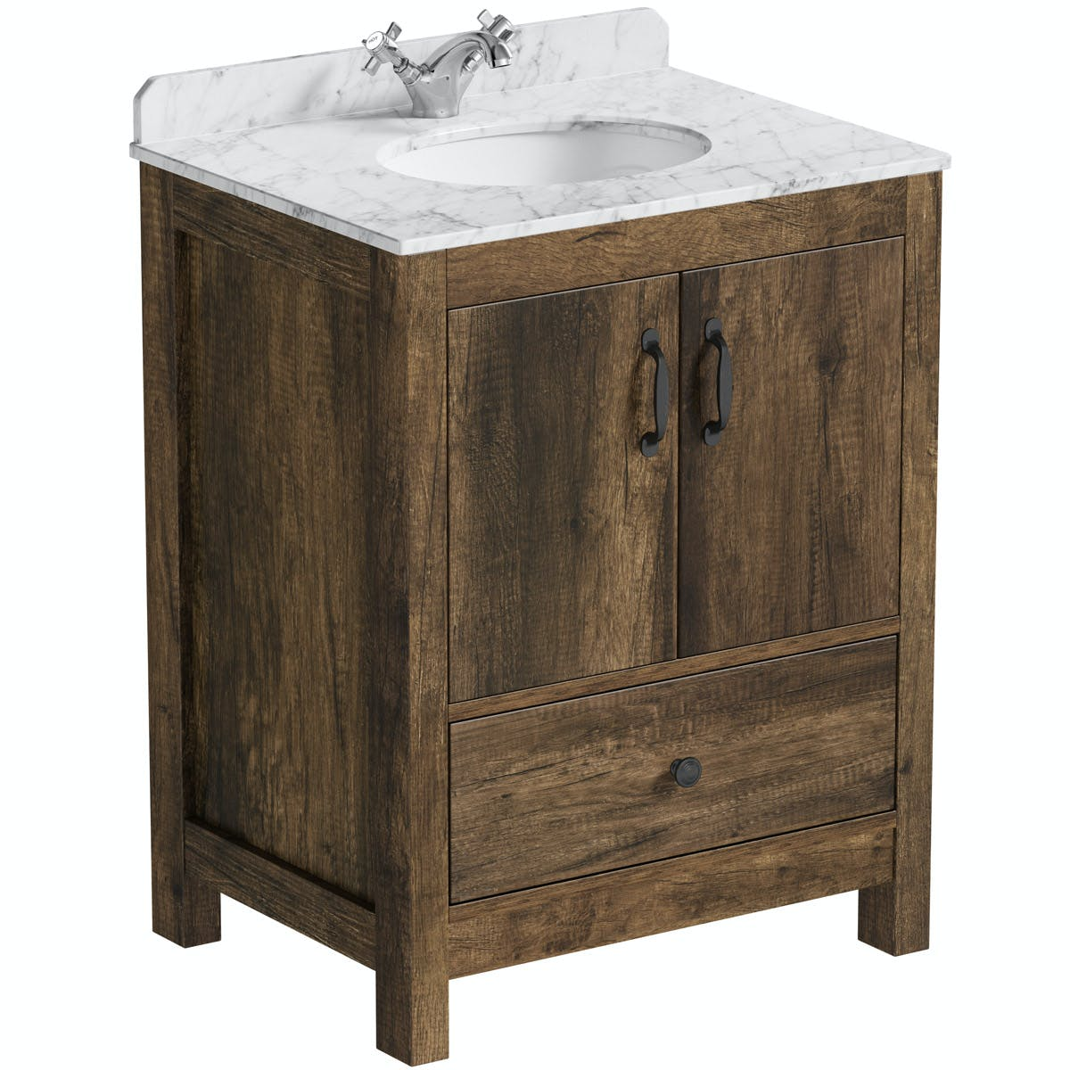 The Bath Co Dalston Floorstanding Vanity Unit And White Marble Basin 900mm