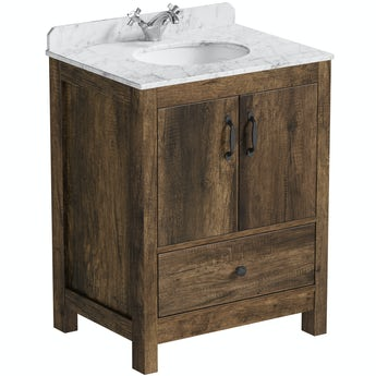 The Bath Co. Dalston floorstanding vanity unit and white marble basin 650mm