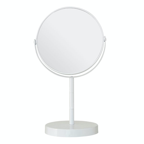 White small freestanding vanity mirror with 2x magnification