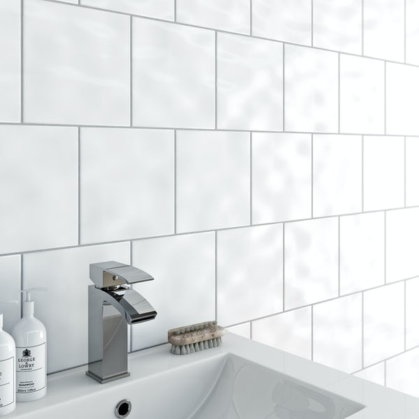 Clarity plain bumpy gloss white wall tile 200mm x 200mm