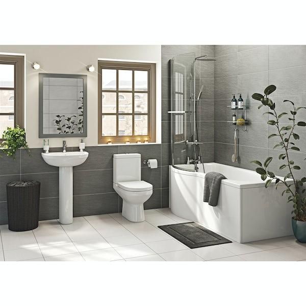 Oakley Bathroom Suite with Evesham 1700 x 850 Shower Bath LH