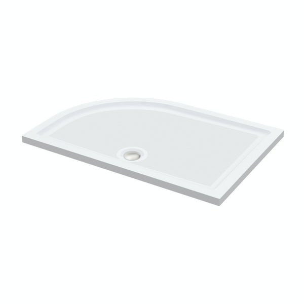 Orchard anti-slip right handed offset quadrant stone shower tray 1000 x 800