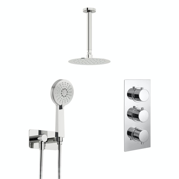 Kirke Curve concealed thermostatic mixer shower with ceiling arm and handset