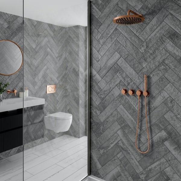 Hago grey stone effect matt wall and floor tile 75mm x 385mm