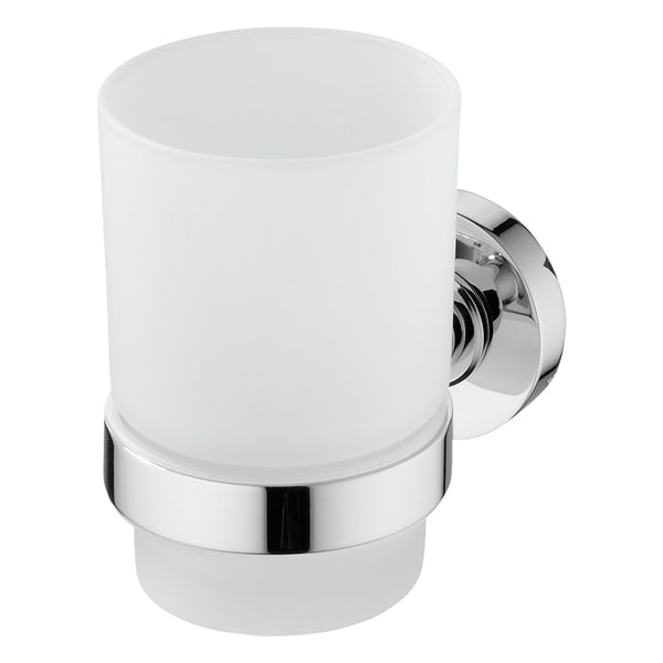 Ideal Standard Frosted tumbler and holder