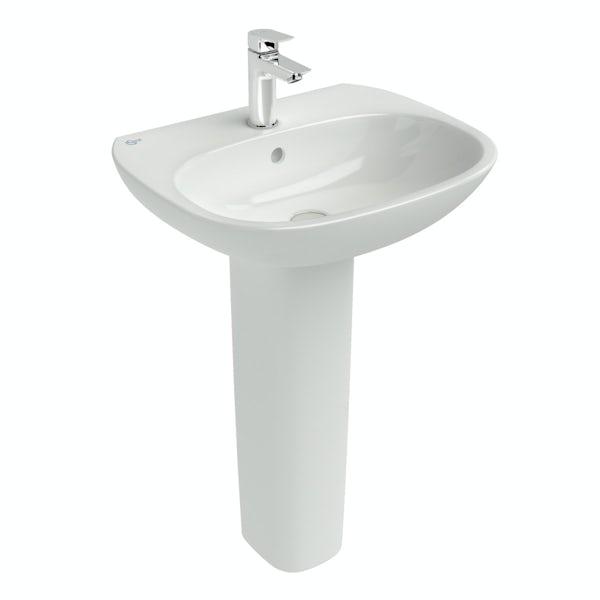 Ideal Standard Tesi 1 tap hole full pedestal bathroom basin 550mm