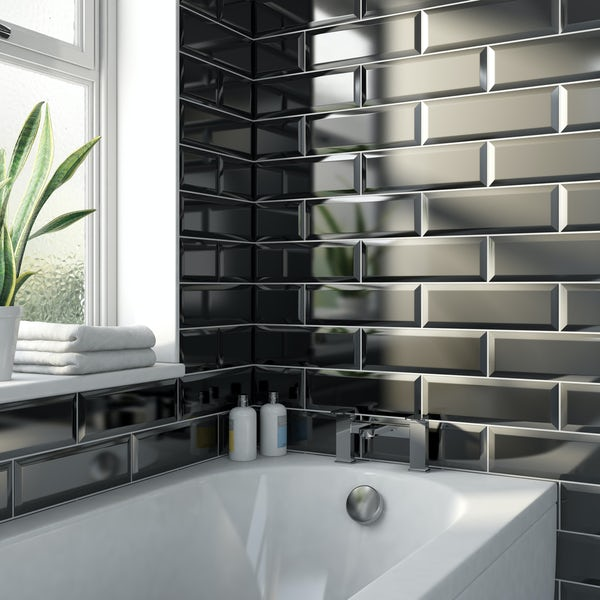 Maxi Metro black bevelled gloss wall tile 100mm x 300mm