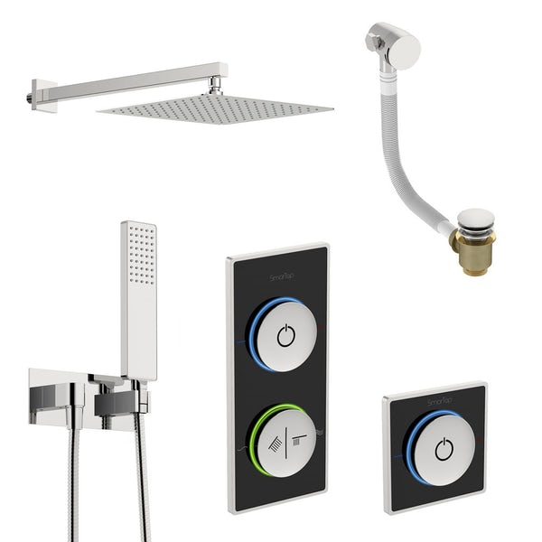SmarTap black smart shower system with complete square wall shower outlet bath set