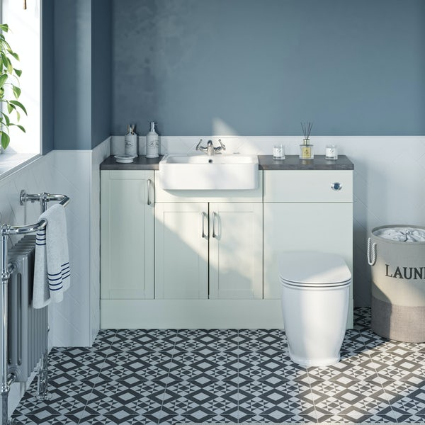 The Bath Co. Newbury white small fitted furniture combination with grey worktop