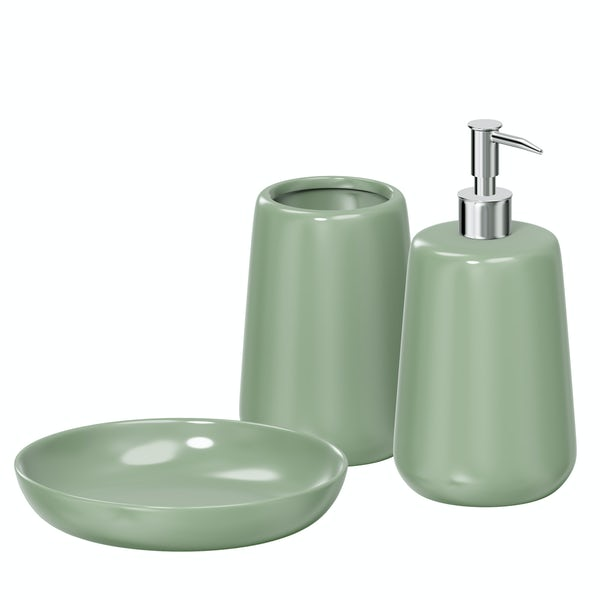 Moon soft green 3pc bathroom accessory set