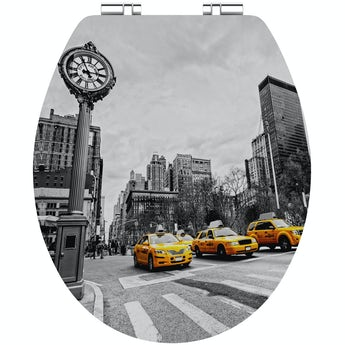 Accents New York taxi acrylic toilet seat with soft close quick release hinge