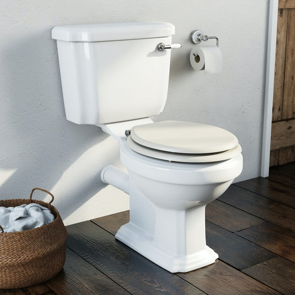 The Bath Co. Dulwich close coupled toilet inc stone ivory soft close seat