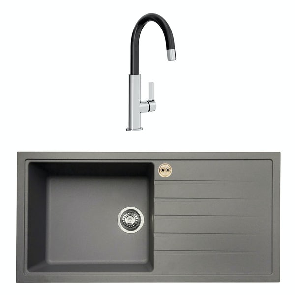 Bristan Gallery quartz right handed dawn grey easyfit 1.0 bowl kitchen sink with Melba black tap