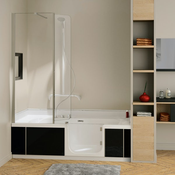 Kineduo right handed complete easy access shower bath with black panel 1700 x 750