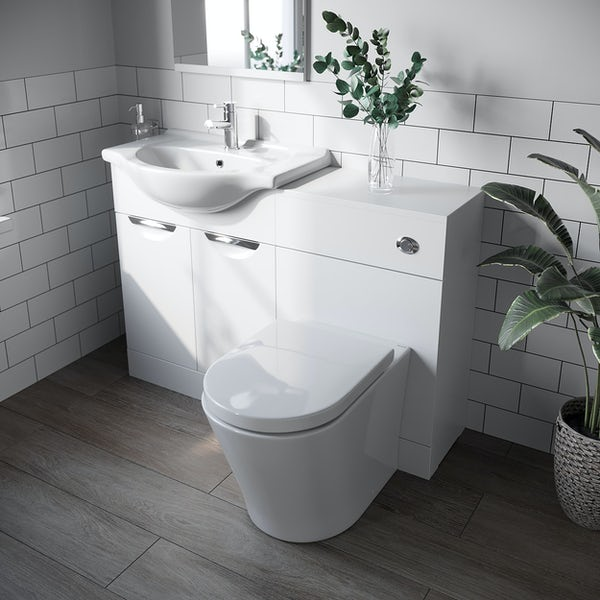 Orchard Elsdon white 1155mm combination with contemporary back to wall toilet and seat