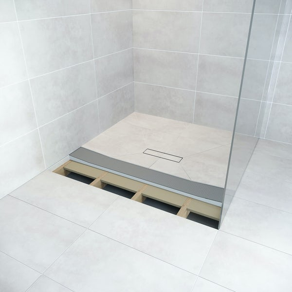 Orchard square wet room tray former with linear centre waste position
