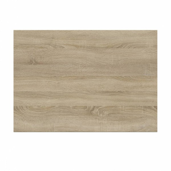 L shaped shower bath wooden end panel Drift sawn oak 700mm