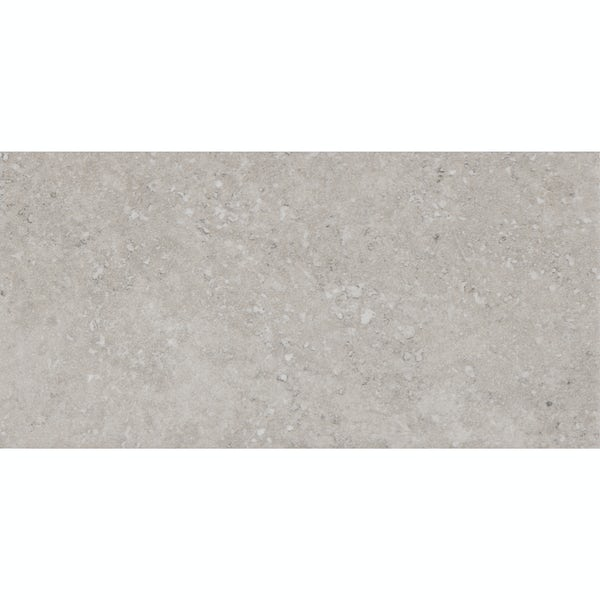 Ibera grey stone effect matt wall tile 100mm x 200mm