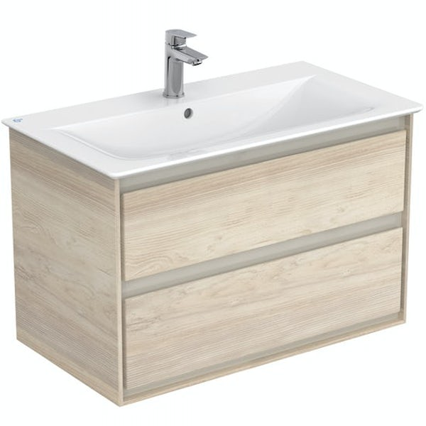 Ideal Standard Concept Air wood light brown wall hung vanity unit and basin 800mm with free tap