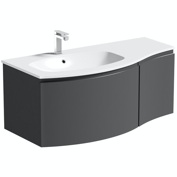 Mode Harrison slate left handed wall hung vanity unit 1000mmMode Harrison slate gloss grey left handed wall hung vanity unit and basin 1000mm