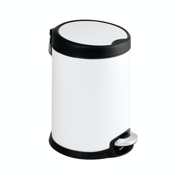 Showerdrape Aero white 3lt pedal bin