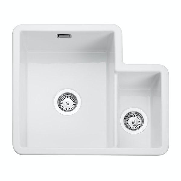 Rangemaster Rustique 1.3 bowl white ceramic kitchen sink