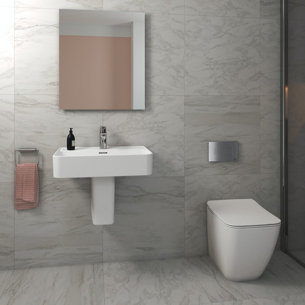 Ideal Standard Strada II back to wall cloakroom suite with semi pedestal basin 600mm